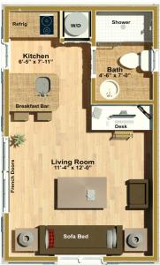 Fernside 250 sf ADU Floor Plan